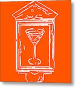 In Case Of Emergency - Drink Martini - Orange Metal Print by Wingsdomain Art and Photography