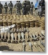 Iraqi National Police And Us Soldiers Metal Print by Everett