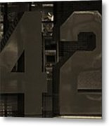 Jackie Robinson 42 In Sepia Metal Print by Rob Hans