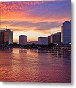 Jacksonville Skyline At Dusk Metal Print by Debra and Dave Vanderlaan
