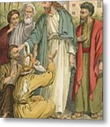 Jesus And The Blind Men Metal Print by English School