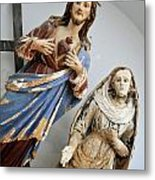 Jesus Christ And Saint Statues In Church Metal Print by Sami Sarkis