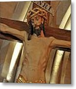 Jesus On Cross Metal Print by Sami Sarkis