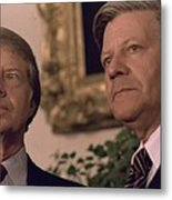 Jimmy Carter Meeting With German Metal Print by Everett