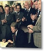 Jimmy Carter Signs Airline Deregulation Metal Print by Everett