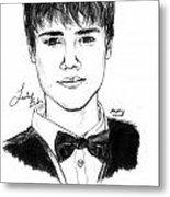 Justin Bieber Suit Drawing Metal Print by Pierre Louis