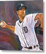Justin Verlander Throws A Curve Metal Print by Nora Sallows