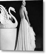 Kay Francis Modeling White Chiffon Metal Print by Everett