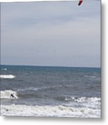 Kiteboarder With Kite In The Waves Metal Print by Skip Brown