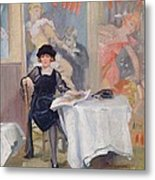 Lady At A Cafe Table  Metal Print by Harry J Pearson