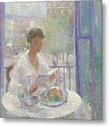 Lady Reading At An Open Window  Metal Print by Clementine Helene Dufau