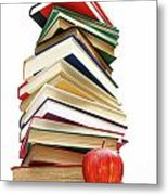 Large Pile Of Books Isolated On White Metal Print by Sandra Cunningham