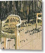 Lawn Chairs Metal Print by Donald Maier