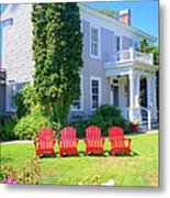Lawn Chairs Metal Print by Randall Weidner