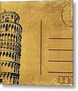 Leaning Tower Of Pisa Postcard Metal Print by Setsiri Silapasuwanchai