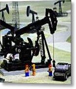 Lego Oil Pumpjacks Metal Print by Ricky Barnard