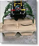 Lego Robot Spider Climbing Over A Box Metal Print by Volker Steger