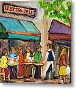 Lester's Deli Montreal Cafe Summer Scene Metal Print by Carole Spandau