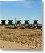 Lifeguard Stand's On The Beach Metal Print by Micah May