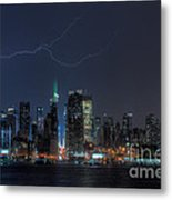 Lightning Over New York City Ix Metal Print by Clarence Holmes