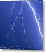 Lightning Strike At Night Near Phoenix, Usa Metal Print by Keith Kent