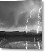 Lightning Striking Longs Peak Foothills Bw Metal Print by James BO  Insogna