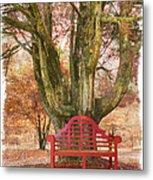 Little Red Bench Metal Print by Debra and Dave Vanderlaan