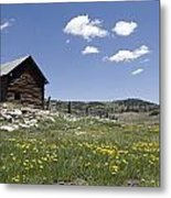Log Cabin On The High Country Ranch Metal Print by Rich Reid
