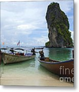 Long Tail Boats Thailand Metal Print by Bob Christopher