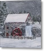 Longfellow's Grist Mill In Winter Metal Print by Jack Skinner