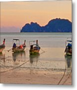 Longtail Boats On Beach At Sunset Metal Print by Image by Ben Engel