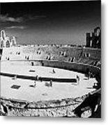 Looking Down On Main Arena Of Old Roman Colloseum El Jem Tunisia Metal Print by Joe Fox