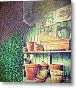 Lots Of Different Size Pots In The Shed Metal Print by Sandra Cunningham