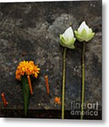 Lotus Flowers On A Thai Shrine Metal Print by Paul Grand