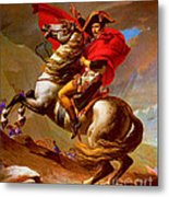 Louis Napoleon At The St Bernard Pass Metal Print by Pg Reproductions