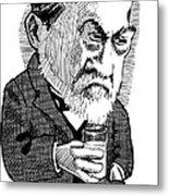 Louis Pasteur, Caricature Metal Print by Gary Brown