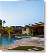Luxury Backyard Pool And Lanai Metal Print by Inti St. Clair