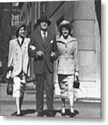 Man And Two Women Walking On Sidewalk, (b&w) Metal Print by George Marks