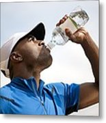 Man Drinking Bottled Water Metal Print by