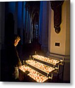 Man Prays By Candles At Frauenkirche Metal Print by Greg Dale