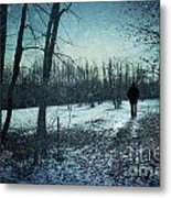 Man Walking In Snow At Winter Twilight Metal Print by Sandra Cunningham