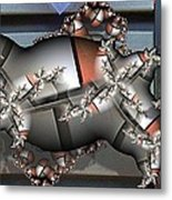 Mandelbrot Meets Mondrian Metal Print by Ron Bissett