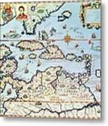 Map Of The Caribbean Islands And The American State Of Florida Metal Print by Theodore de Bry