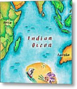 Map Of The Indian Ocean Metal Print by Jennifer Thermes