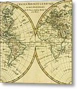 Map Of The World In Two Hemispheres Metal Print by Guillaume Raynal