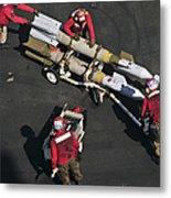 Marines Push Pordnance Into Place Metal Print by Stocktrek Images
