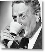 Mature Man Drinking Cup Of Coffee Metal Print by George Marks