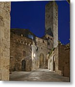 Medieval Street At Twilight Metal Print by Rob Tilley