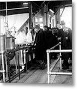 Men Wait In Line For Food Metal Print by Everett