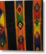 Mexican Throw Rug Colorful Metal Print by Unique Consignment